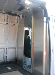 Sprinter bulkhead partition with slider door, door open
