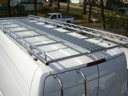 14 foot long cargo carrier rack on long Sprinter. Shown with optional catwalk