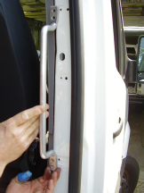 Sprinter side door grab handle, mounts to exposed metal