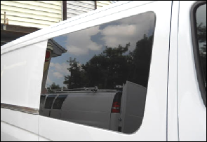 Sprinter window for sliding door fixed glass dark tint