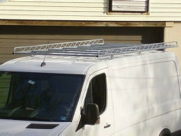 "cargo carrier rack is galvanized steel. 12 foot long model shown on 144"" Sprinter"
