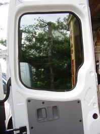 Sprinter rear door window inside view